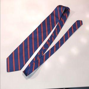 100% Silk blue and orange tie UVA